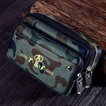 VONC1Y Canvas Work Waist Bag Army Military Small Bags Molle Waist Bags Casual Waterproof Double Zipper Design Waist Pack