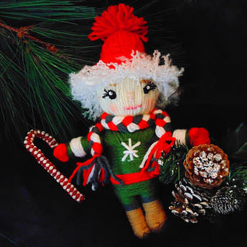 Christmas Elf Doll, Holiday Art Doll, Christmas Decor Figure, Yarn Elf, Whimsical Elf Doll