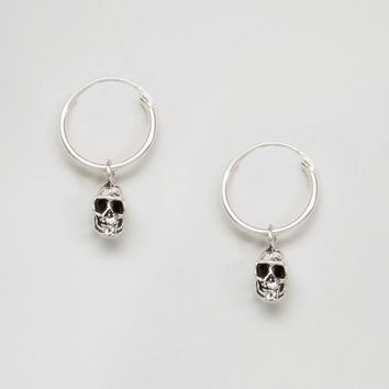 Kingsley Ryan Skull Drop Hoop Earrings at asos.com