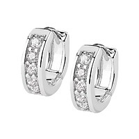 Clear Bliss Earrings - 14Kt Gold Rhodium Plated Channel Set CZ Half Circle Brass Hoop Earrings