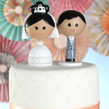 Kokeshi Cake Topper- Black/Brown