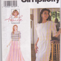 Kathi Lee cocktail dress pattern with bodice overlay and flared or straight skirt misses size 10 12 14 16 Simplicity 9611 UNCUT