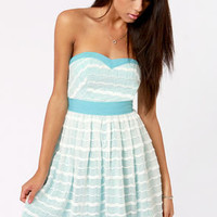 More Than Words Blue and White Lace Dress