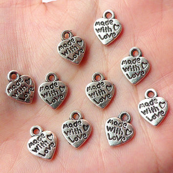 Made With Love Heart Charms (10pcs) (10mm x 12mm / Tibetan Silver / 2 Sided) Pendant Bracelet Earrings Zipper Pulls Keychains CHM185