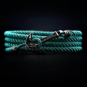 Mint Anchor Bracelet. NICKEL PLATED. Wrap Bracelet. Sea Nautical Bracelet. Rope Bracelet. Mens Bracelet. Women Bracelet. Men Rope Bracelet