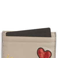 Tory Burch Love Embellished Leather Card Case | Nordstrom