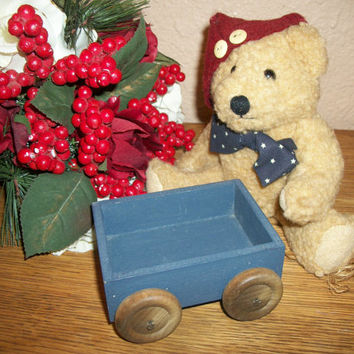 Blue Cart Wooden Wagon Craft Supply Doll Bear Accessory Americana Home Decor