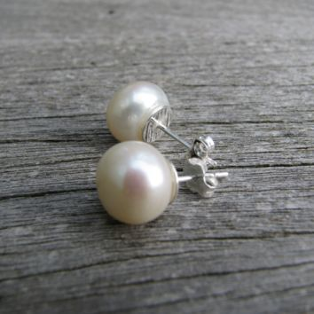 Real Pearl Earrings, Freshwater Pearl Studs, Silver Pearl Earrings, Ivory Pearl Earrings