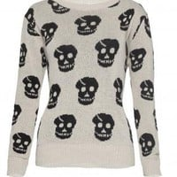 Beige Skull Print Sweater with Ribbed Collar & Cuffs