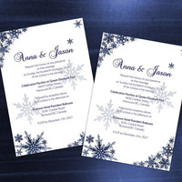 DIY Printable Wedding Invitation Card Template | Editable MS Word file | 5 x 7 | Instant Download | Winter Royal Navy Blue Snowflakes