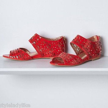 NIB Anthropologie Geo Cut Patent Sandals Sz 8 M- by Miss Albright