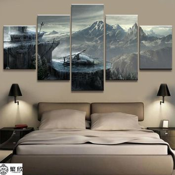 5 Panel Tomb Raider Game Landscape Canvas Printed Painting For Living Room Wall Art Home Decor HD Picture Artworks Modern Poster