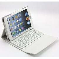 SUPERNIGHT Wireless Bluetooth keyboard Case case for Apple iPad Mini Tablet .Color:White