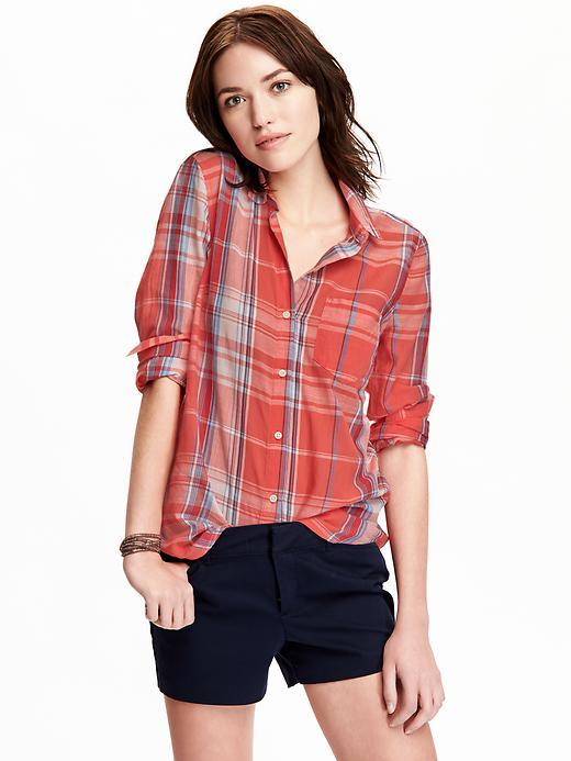 Old navy womens lightweight plaid shirts from old navy for Womens navy plaid shirt