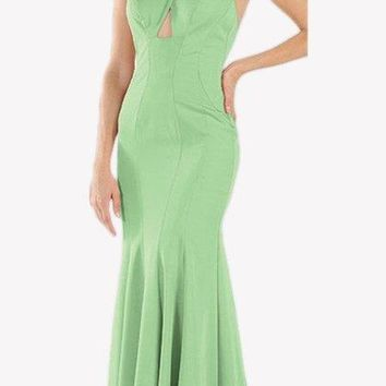 Green Keyhole Bodice Fit and Flare Long Formal Dress
