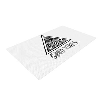 "Vasare Nar ""Good Vibes"" White Black Woven Area Rug"