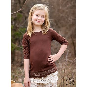 Southern Grace 2017 Fall Girls 3/4 Sleeve Shirt With Crochet Lace In Brown