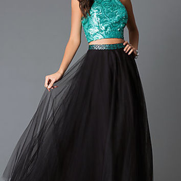 Long Black and Green Sequined Two-Piece Dress