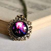 Purple Glass Dome Glalaxy Filigree Pendant Necklace