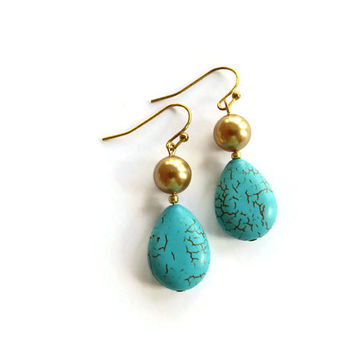 Gold and Turquoise Dangle Earrings. Teardrop Turquoise and Gold Pearl. Drop Turquoise Earrings.