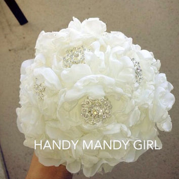 Gorgeous Fabric Ivory sparkly  Peony Brooch Bouquet