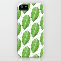 Swirly Green Leaf Pattern iPhone Case by borianagiormova