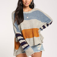 Cream Color Block Dolman Sweater Top