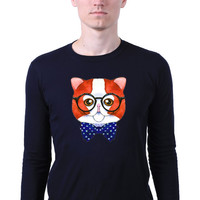 Hipster Nerd Cat With Glasses Geeky Kitten Face Anime Animal Print Long Sleeve T-shirt