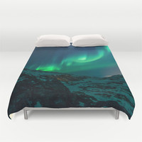 Duvet Cover, Northern Lights Aurora Borealis Sky Bedding Cover, Decorative Nature Bedroom Decor, Home Decor, King, Queen, Full