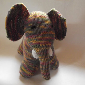 Multi-coloured elephant - knit toy - standing elephant - OOAK