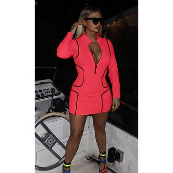 Gold Medal Neon Long Sleeve Zip Front Mock Neck Contrast Piping Bodycon Mini Dress - 2 Colors Available