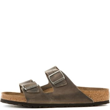 Birkenstock Unisex: Arizona Soft Footbed Oiled Leather Iron Sandals - Beauty Ticks