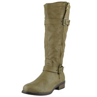 Womens Knee High Boots Back Zip Up Side Studded Casual Dress Shoes Taupe SZ