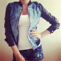 Women Retro Fashion Casual Blue Jean Denim Long Sleeve Shirt Tops Blouse Jacket = 1930111492