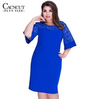 Women's PLUS PLUS A Line Shift Dress With Hollowed Out 3/4 Flared Sleeves And Bodice