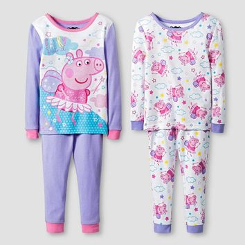 Toddler Girls' Peppa Pig 4 Piece Pajama Set-Purple