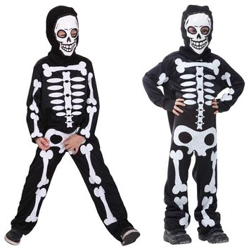 Children Halloween Skeleton Cosplay Costume Skull Skeleton Ghost Clothes Devil Mask  Kids Boys girl Carnival Masquerade dress up