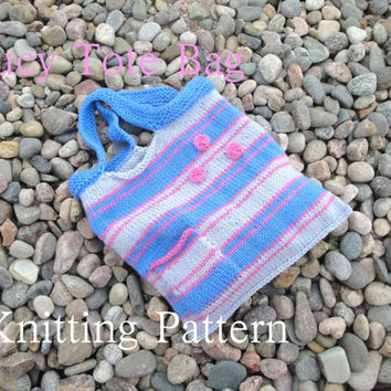 Lucy Tote Bag - Knitting Pattern, Striped Pocket, Market Shopping Purse, Easy Knit, Worsted Aran, Red Heart