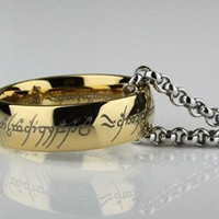 Lord of the Rings - the One Ring - Frodo Ring - LOTR - The Hobbit - Bilbo Baggins - Gollem Sauron - Fellowship Gandalf -Gold - Incl. Chain