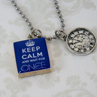 Once Upon A Time Necklace Keep Calm with Clock Charm - evil queen - snow white - prince charming - fairy tales - ouat - magic - captain hook