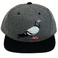 Pigeon Melton Wool Gray/Black 2-Tone Snapback