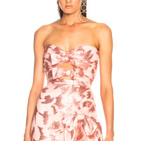 Rodarte Sequin & Tulle Strapless Bustier with Bow Details in Light Pink   FWRD