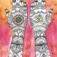 Om Symbol Mandala Painting, Henna Hands painting, Original Watercolor painting, Mehndi Hands Mandala Art, Yoga Studio Wall Decor, Indian art