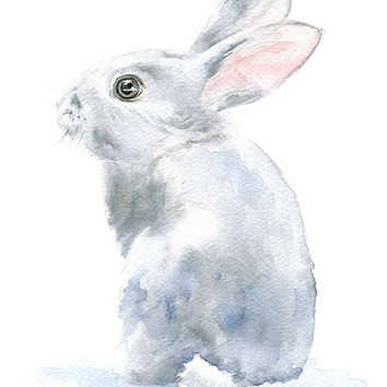 Gray Bunny Rabbit Watercolor Painting Bunny - Giclee Print - 5 x 7 - Nursery Art - Woodland Animal