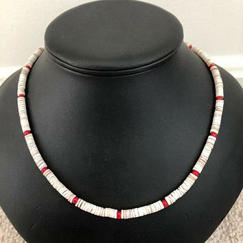 White Heishi Beaded Mens Necklace