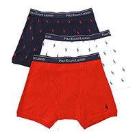 Polo Ralph Lauren Classic Fit 100% Cotton Boxer Briefs - 3 Pack (LCBB) S/Red/Pony Print Asst