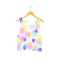 Ditsy Dots - Splash Dyed Hand PAINTED Slouchy Scoop Neck Cropped Boxy Tank Top in Neon Rainbow - Women's S M L