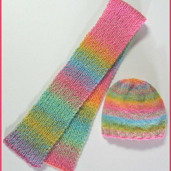 Toddler Hand Knit Beanie Hat and Scarf Set  / Color: Tutti Fruitti