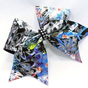 Cheer bow, Blue cheer bow, graffiti cheer bow, Cheerleading bow, Cheerleader bow, Dance bow, Softball bow, Cheerbow