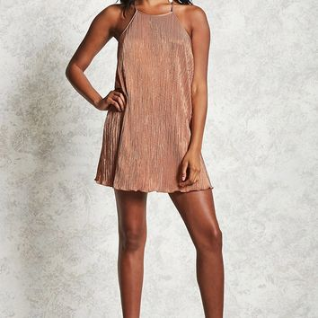 Metallic Pleated Cami Dress